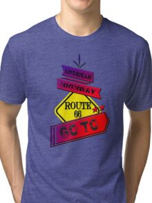 Traffic signal Route 66 america higway  Tri-blend T-Shirt