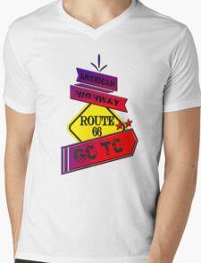 Traffic signal Route 66 america higway  Mens V-Neck T-Shirt