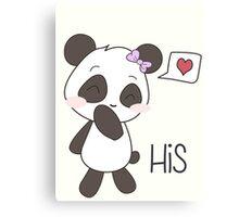 """His & Hers"" Panda (Couple Case) Girl Version [B&W] Canvas Print"