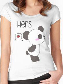 """His & Hers"" Panda (Couple Shirts) Boy Version Women's Fitted Scoop T-Shirt"