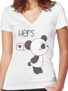"""His & Hers"" Panda (Couple Shirts) Boy Version Women's Fitted V-Neck T-Shirt"