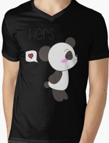 """His & Hers"" Panda (Couple Shirts) Boy Version Mens V-Neck T-Shirt"