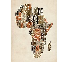 Typography Text Map of Africa Photographic Print