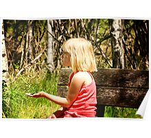 Young Girl With Bird Feed Poster