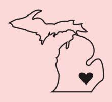 Michigan Love - Black  One Piece - Long Sleeve