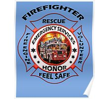 Fire fighter vintage logo  gifts Poster