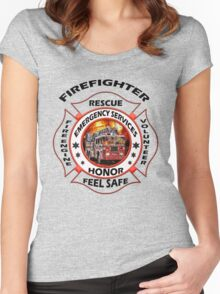 Fire fighter vintage logo  gifts Women's Fitted Scoop T-Shirt