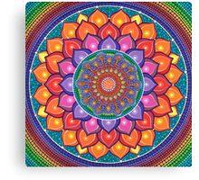 Lotus Rainbow Mandala Canvas Print