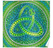 Green Ouroboros Celtic Snake Poster