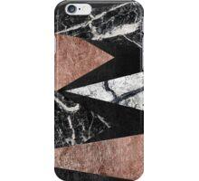 Elegant Modern Marble, Rose Gold, & Black Foil Triangles iPhone Case/Skin