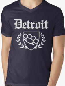 Detroit Knuckle Crest (Vintage Distressed Design) Mens V-Neck T-Shirt