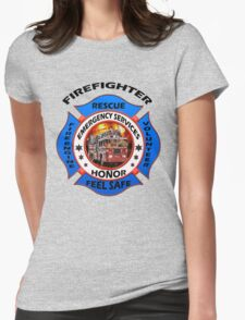 Fire fighter vintage logo desing gifts Womens Fitted T-Shirt