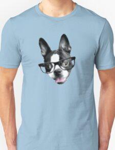 Hipster Boston Terrier (Pop Art Pixel Design) Unisex T-Shirt