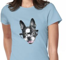 Hipster Boston Terrier (Pop Art Pixel Design) Womens Fitted T-Shirt