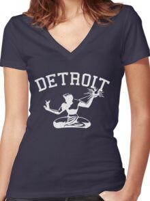 Spirit of Detroit (Vintage Distressed Design) Women's Fitted V-Neck T-Shirt