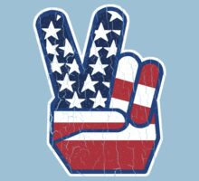 USA Flag Peace Hand (Vintage Distressed Design) by robotface