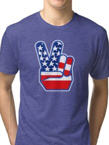 USA Flag Peace Hand (Vintage Distressed Design) Tri-blend T-Shirt