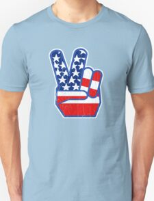 USA Flag Peace Hand (Vintage Distressed Design) Unisex T-Shirt