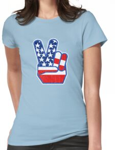 USA Flag Peace Hand (Vintage Distressed Design) Womens Fitted T-Shirt