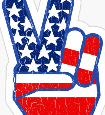 USA Flag Peace Hand (Vintage Distressed Design) Sticker