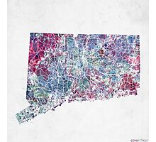 connecticut map cold colors Photographic Print