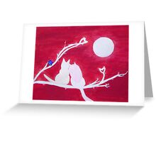 Full-moon Love - Two Loving Cats Greeting Card