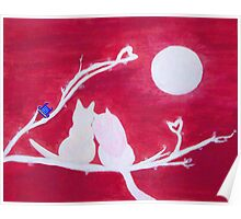 Full-moon Love - Two Loving Cats Poster