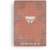 You May Call Me V: V for Vendetta Movie Poster Canvas Print