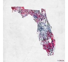 Florida map cold colors Photographic Print