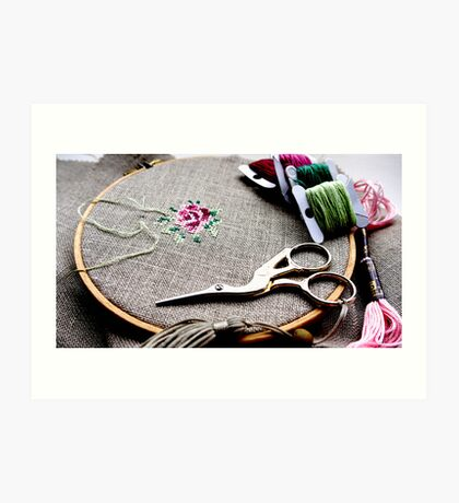 Cross stitch rose on embroidery hoop Art Print