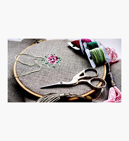 Cross stitch rose on embroidery hoop Photographic Print