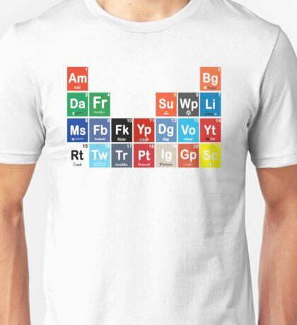 Periodic Table of Social Media Unisex T-Shirt