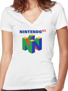 Nintendo 64 Women's Fitted V-Neck T-Shirt