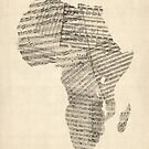Old Sheet Music Map of Africa Map by Michael Tompsett