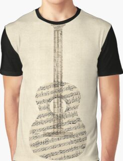 Acoustic Guitar Old Sheet Music Graphic T-Shirt