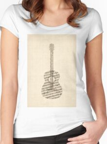 Acoustic Guitar Old Sheet Music Women's Fitted Scoop T-Shirt