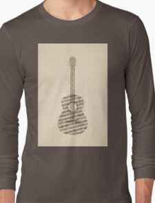 Acoustic Guitar Old Sheet Music Long Sleeve T-Shirt