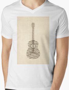 Acoustic Guitar Old Sheet Music Mens V-Neck T-Shirt