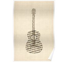 Acoustic Guitar Old Sheet Music Poster