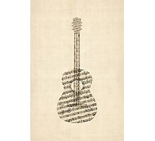 Acoustic Guitar Old Sheet Music Photographic Print