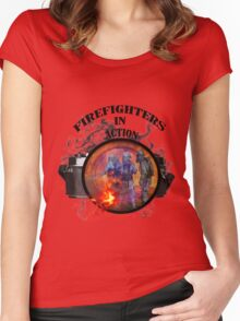 Fire fighter camera vintage gifts  Women's Fitted Scoop T-Shirt