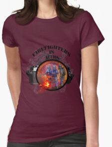 Fire fighter camera vintage gifts  Womens Fitted T-Shirt