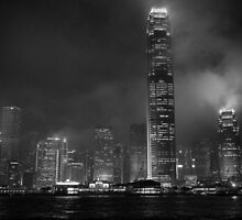 Rising towers of Hong Kong night view from sea B&W  by vishwadeep  anshu