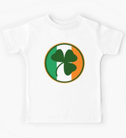 Green and orange Irish logo, shamrock  Kids Tee