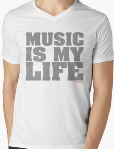 Music Is My Life Vinyl Mens V-Neck T-Shirt