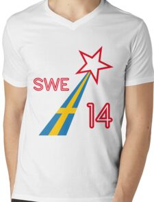 SWEDEN STAR Mens V-Neck T-Shirt