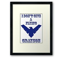 I don't give a flying grayson - transparent text Framed Print