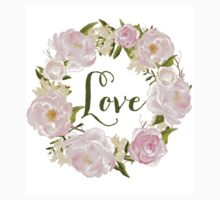 Watercolour Blush Peonies Wreath - Love One Piece - Short Sleeve