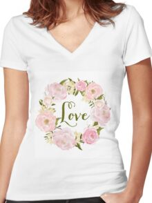 Watercolour Blush Peonies Wreath - Love Women's Fitted V-Neck T-Shirt