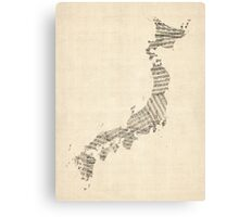 Old Sheet Music Map of Japan Canvas Print